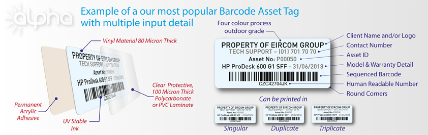 Popular Barcode Asset Tag